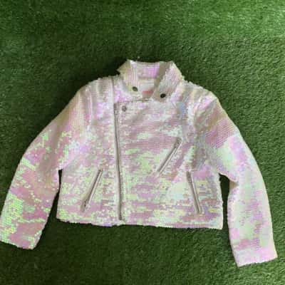 Seed Heritage Pink Sequinned Rocker Jacket Size 2