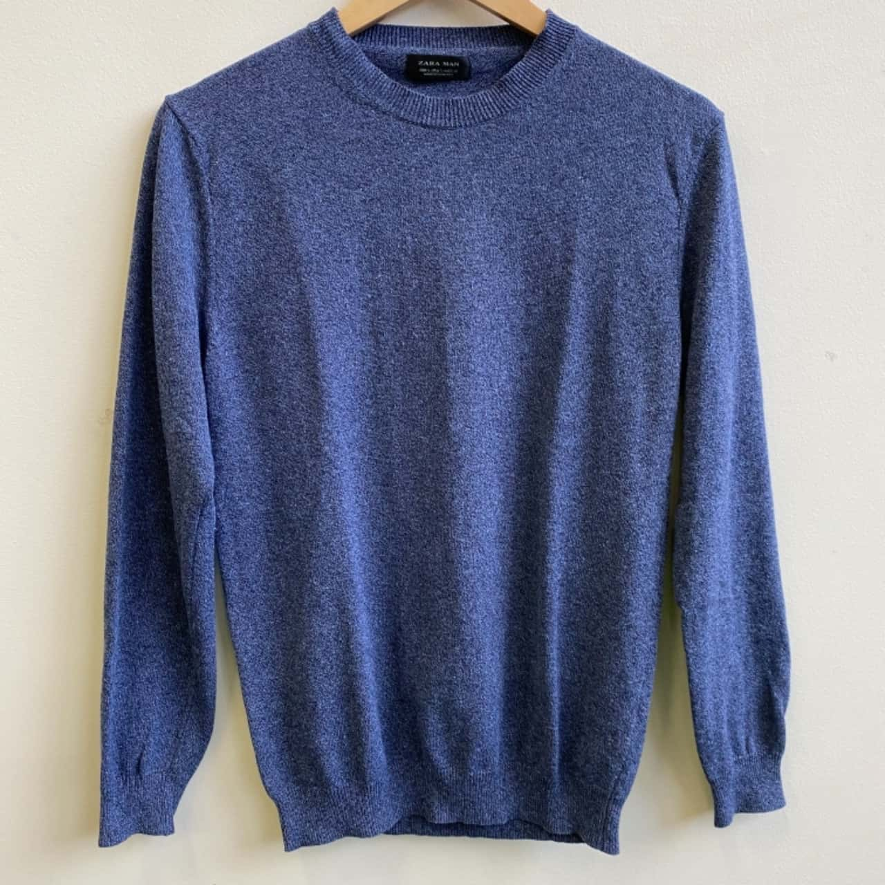 Zara Mens Basic Blue Knit Jumper Size S