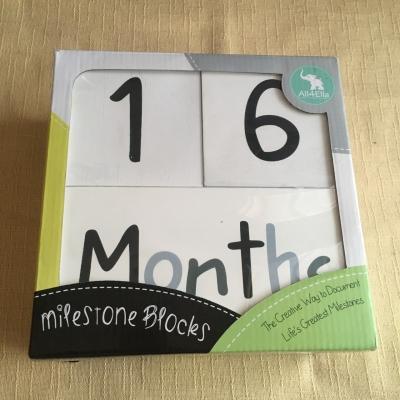 All 4 Ella Wooden Milestone Blocks - Used As New