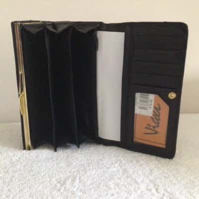 BNWT Womens VIALI Black  Leather Purse  18 cm x 9 cm RRP $19.95