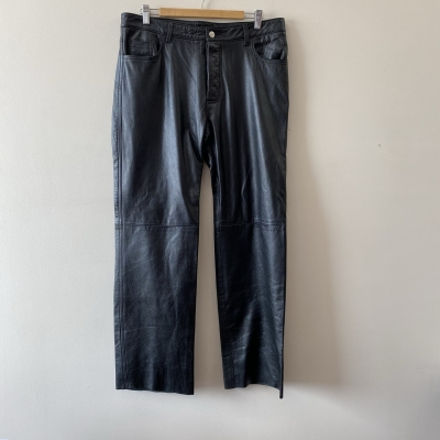 Atelier Mens Pants Leather/Polyester Black