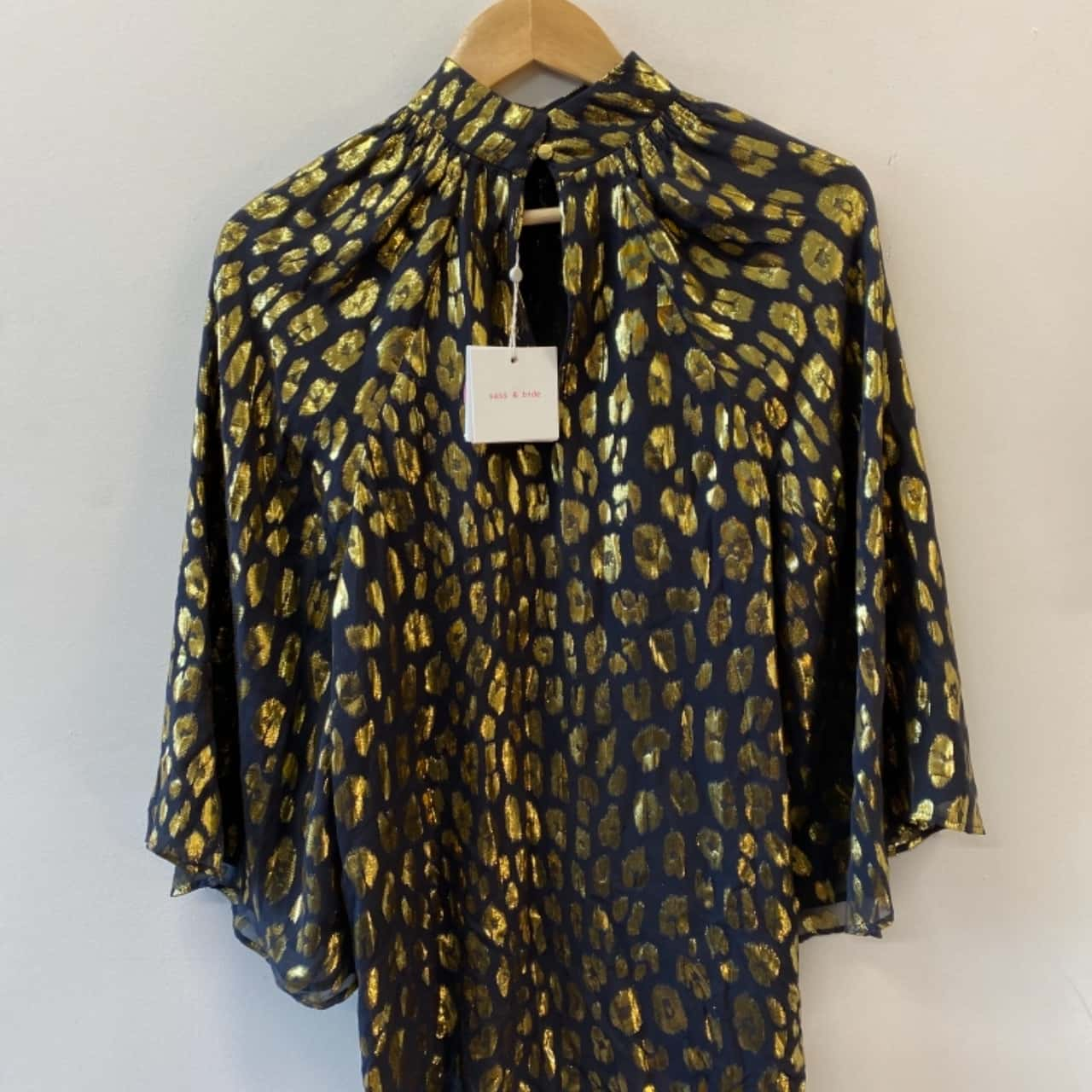 Sass & Bide Womens Size 8 Black /Gold High Neck Silk Blend Top - New with Tags