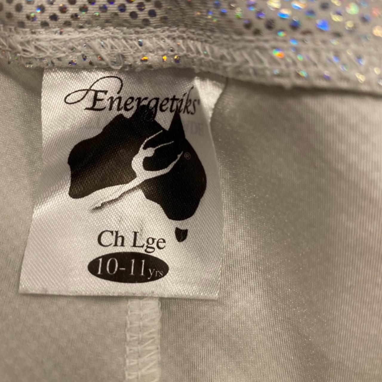 Girls ENERGETICS 2PCE GYMNASTICS/CHEERLEADING /DANCE  Size 10-11 yearsBlack /Multicoloured/Silver