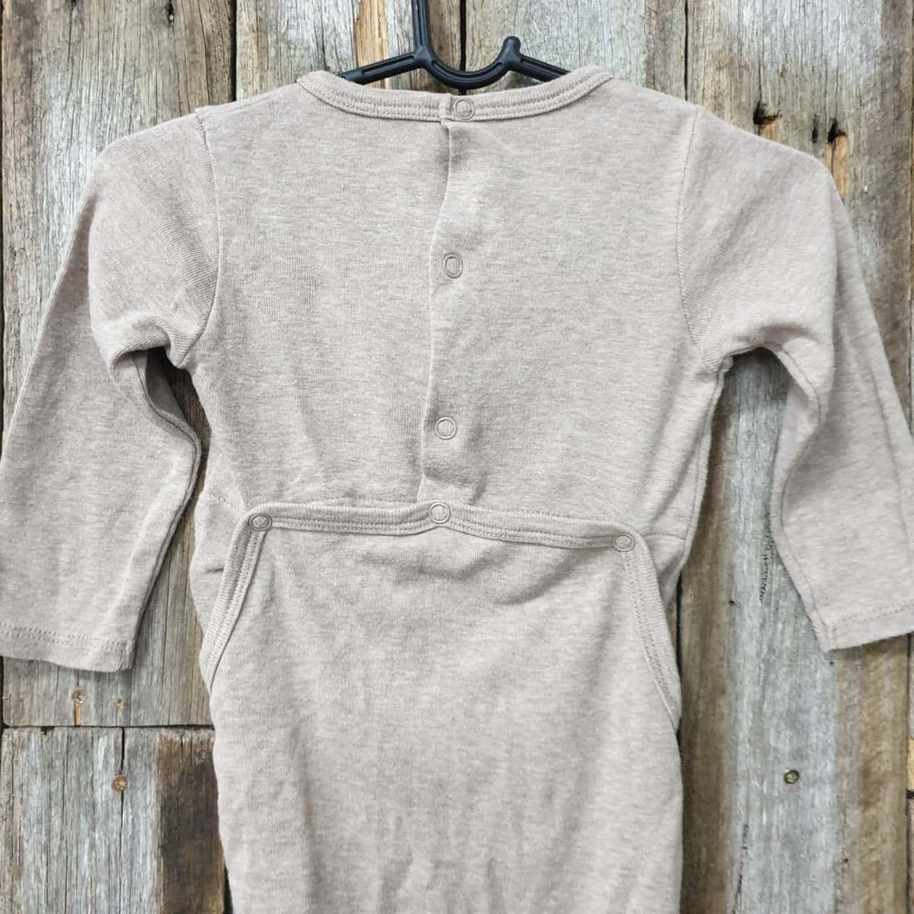 Baby's Seed Onesie Brown/White, Cotton, Size 3-6 months