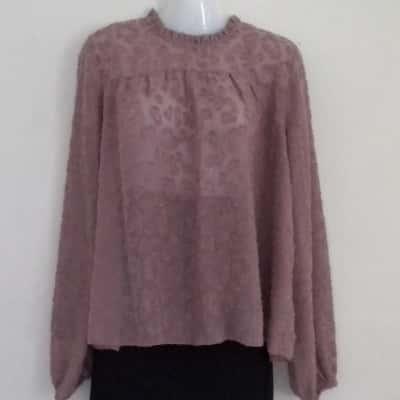 Womens DECJUBA ARABELLA FLORAL BURNOUT BLOUSE Size 12 Long Sleeve  MUSHROOM COLOR IDEAL CORPORATE SHIRT