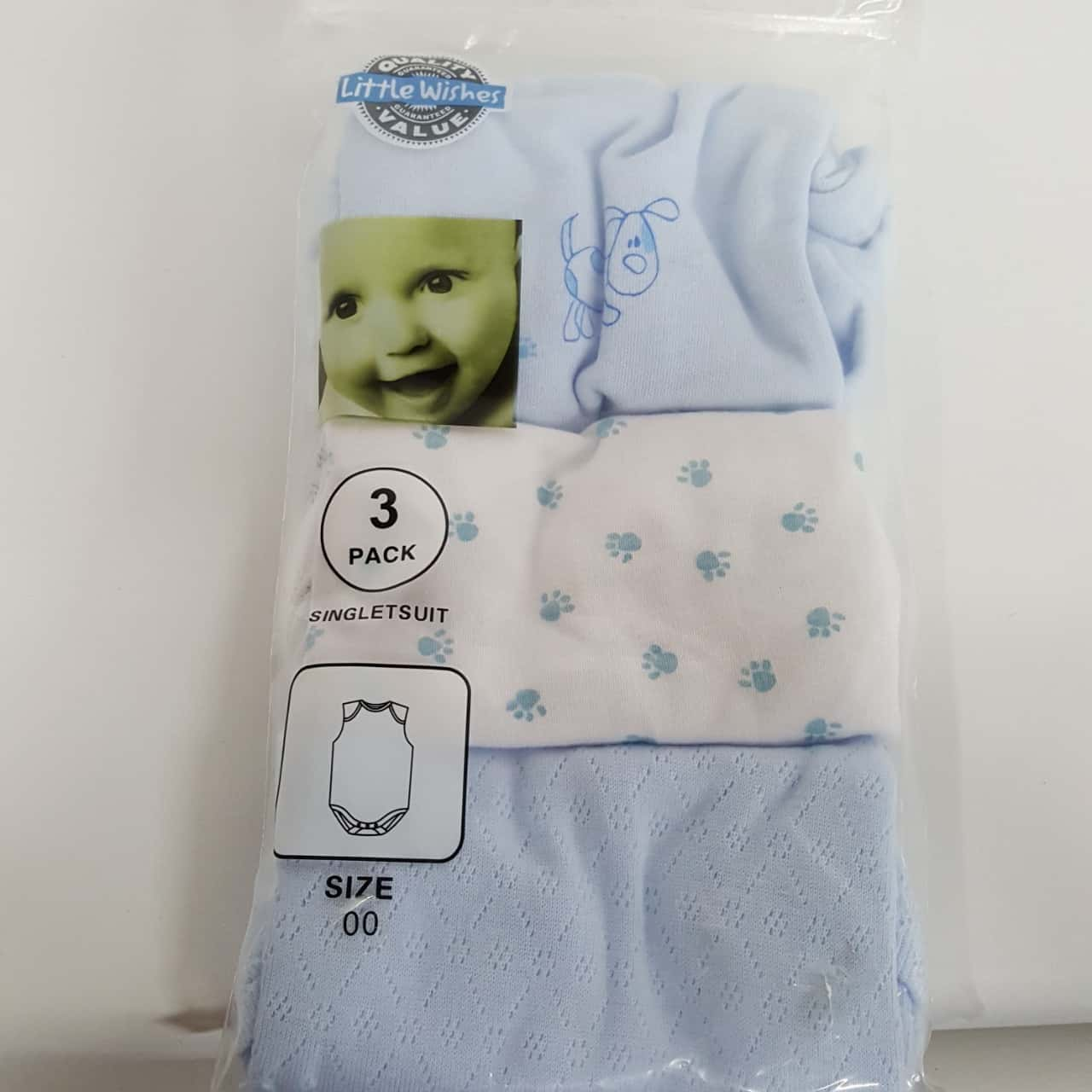 Baby Jumpsuit Blue/White - Set of 3