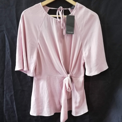 Forcast Womens Tie Front Top Blush Pink Size 10 Brand New RRP $69.99