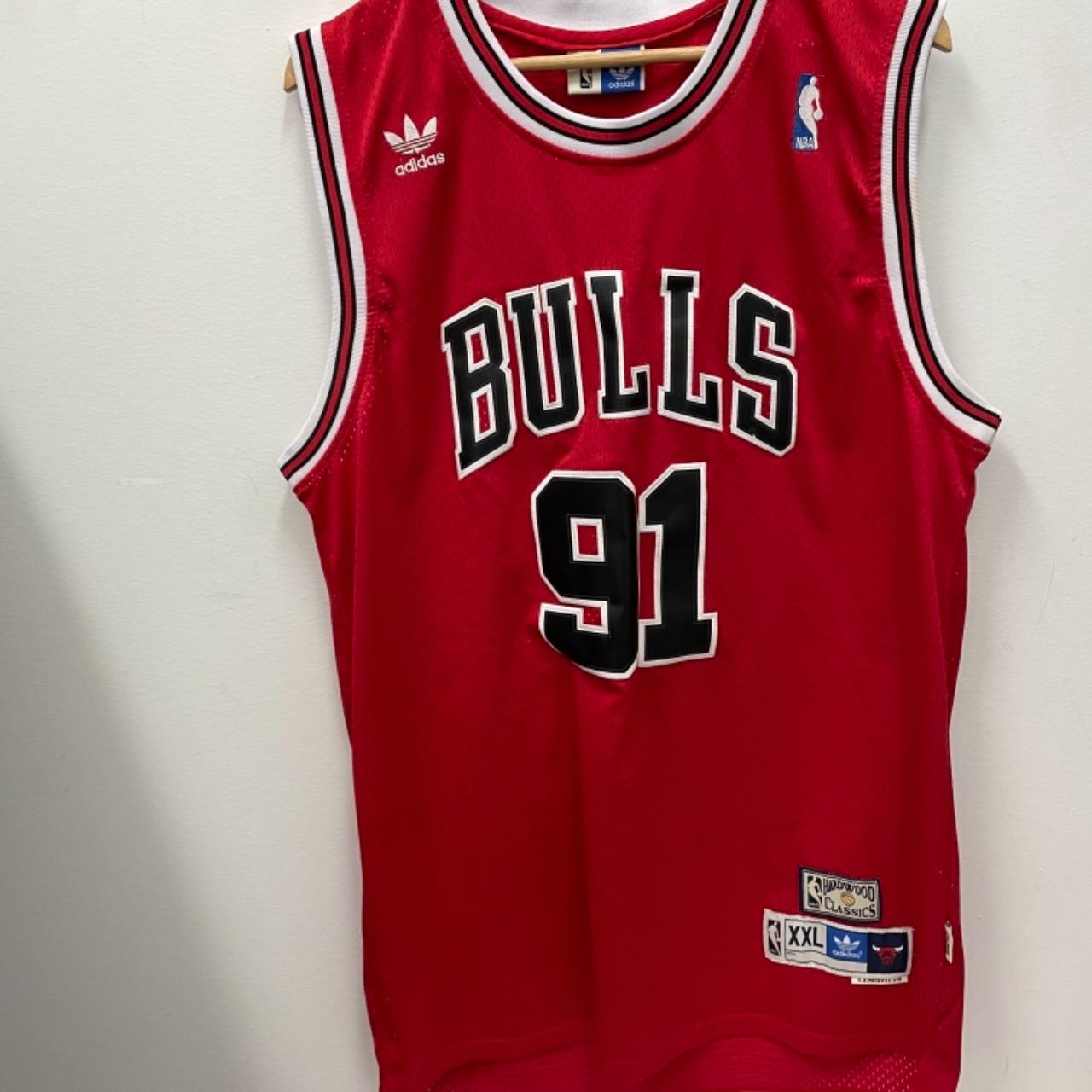 Adidas Mens Chicago Bulls Dennis Rodman #91 Jersey Size XXL Red