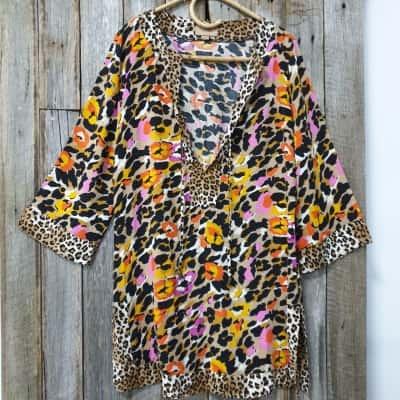 Women's Kachel Multicoloured 3/4 Sleeve Top, Size S