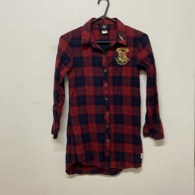 Harry Potter Kids Pyjama Top Size 12 Blue/Checked/Red