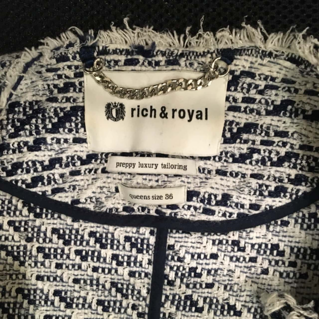 RICH & ROYAL Womens Blazers Cream/Navy Blue/Striped
