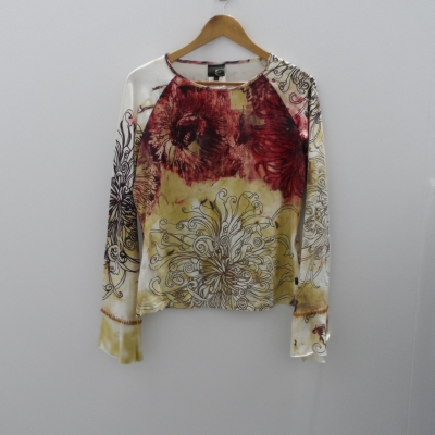Just Cavalli- Size XL Long Sleeve  Red/Brown/Cream/Maroon