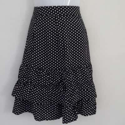 BNWT Womens PIPER SKIRT WITH RUFFLES Size 6 Midi Black /Polka Dot/White RRP $79.95