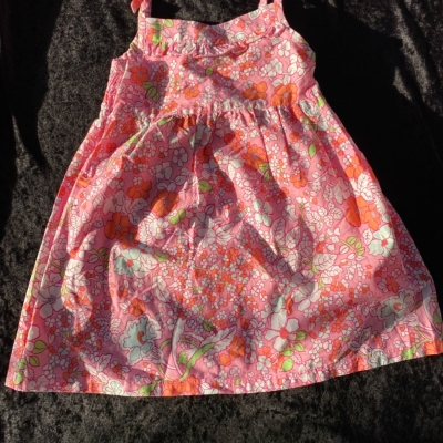 Girls FADED GLORY Summer Dress Size 4 floral  Green/Orange/Pink /White