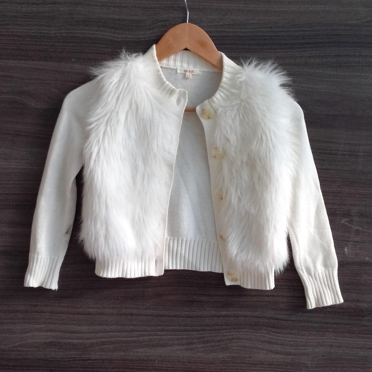 Girls SEED 100% COTTON CARDIGAN FAUX FUR FRONT PANELS  Size 4/5 Cream