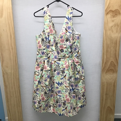 Monsoon, Floral and bird print dress, Size 12 - 14