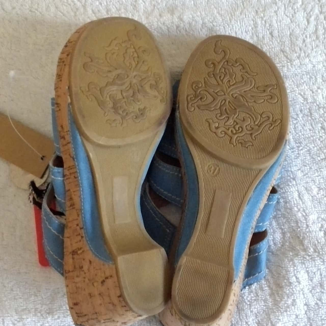 BNWT Womens RIVERS SOFT CORK HEELS  Size 6 Blue/Brown RRP $39.95