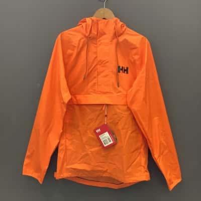 Helly Hansen Mens  Size L Blaze Orange Loke Packable Hooded Anorak Jacket BNWT