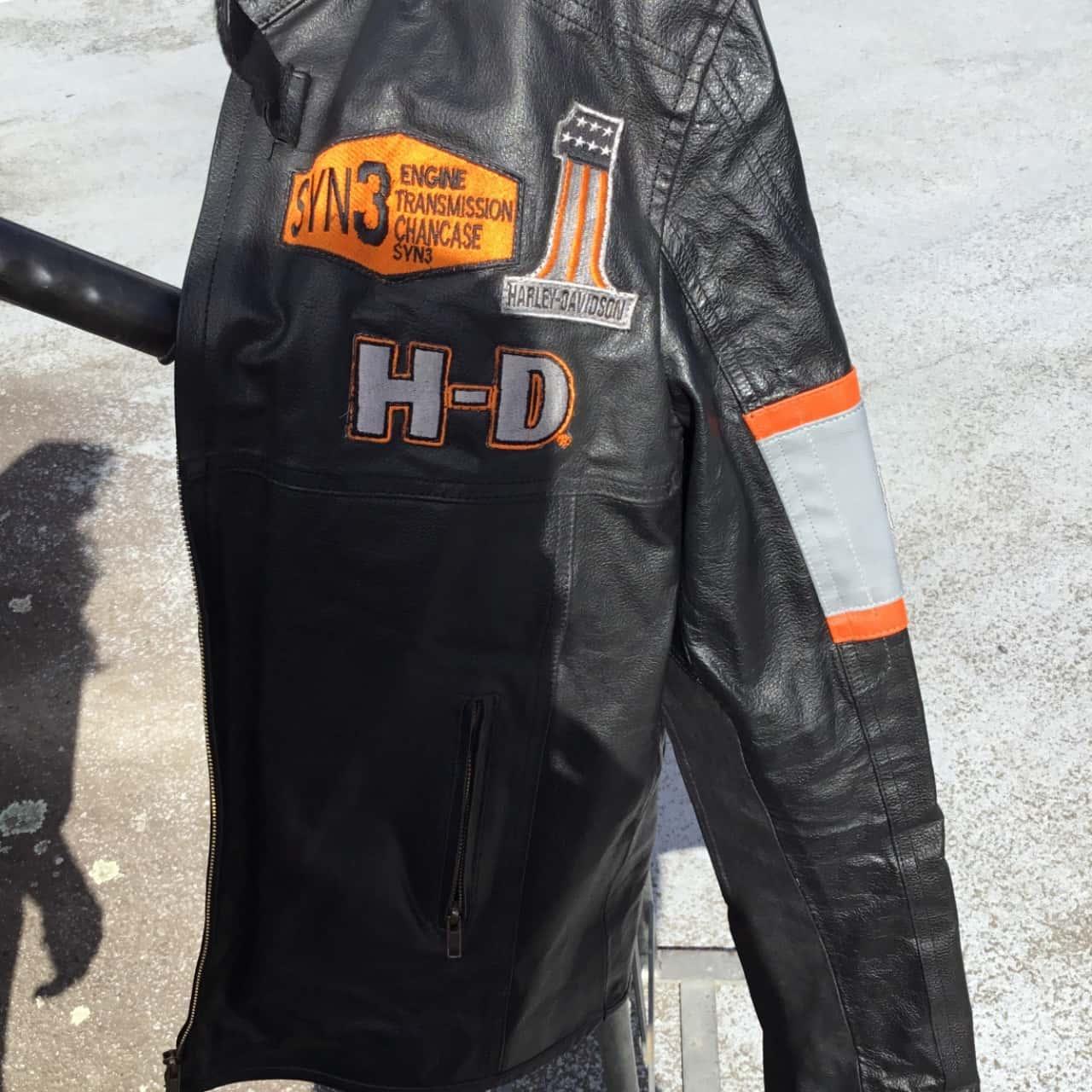 Harley Davidson Motor Cycles Black /Grey/Orange Jacket