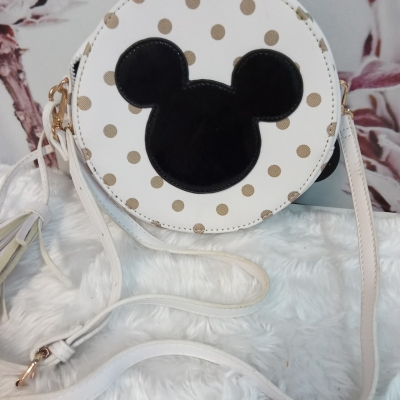 Kids Polka Dot/White Mickey Mouse Bag with Shoulder Strap