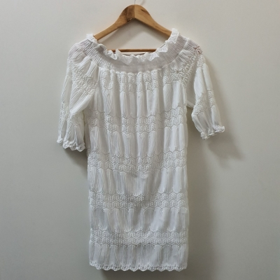 Unbranded Womens  Size 8/10 Lace Mini Dress White