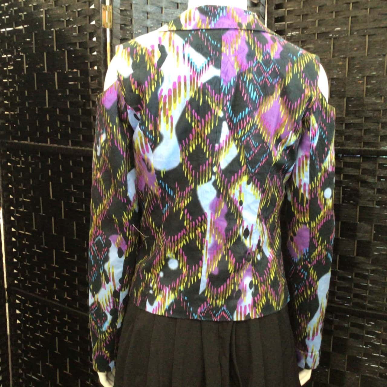 Womens  LUCY IN THE SKY Size 8 Open Jacket Black /Multicoloured