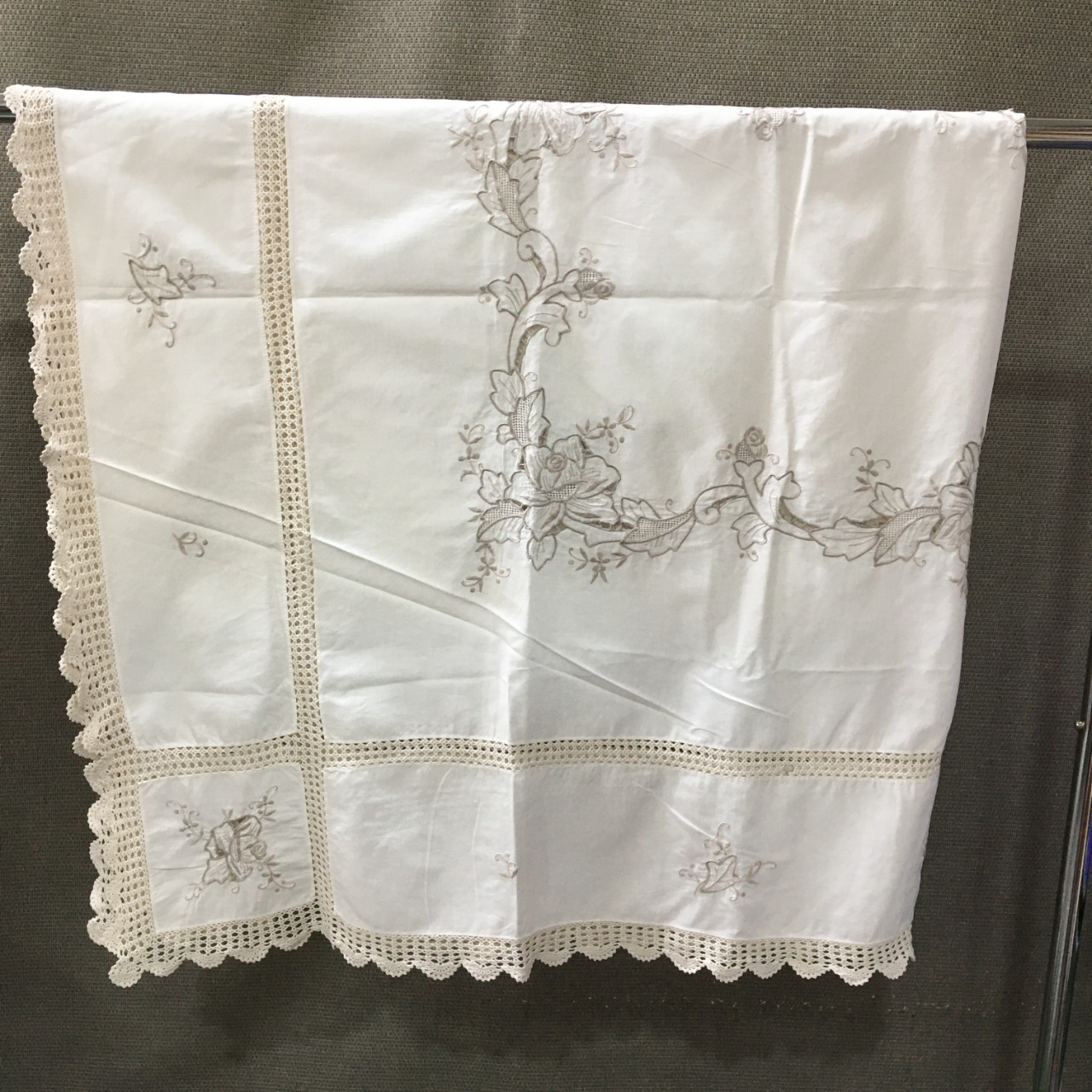 50% Off - Table Cloth, Embroidered & Crochet Trim, Antique-White