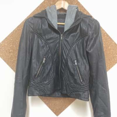 John John Bomber Jacket Black /Grey size 8