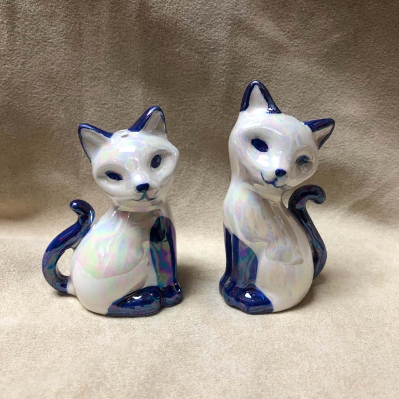 Vintage Iridescent Cat Salt & Pepper Shakers