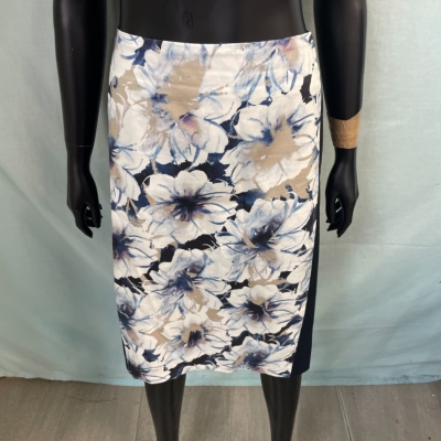 Laura Ashley Womens Skirts Size M A-Line Blue/Floral/White