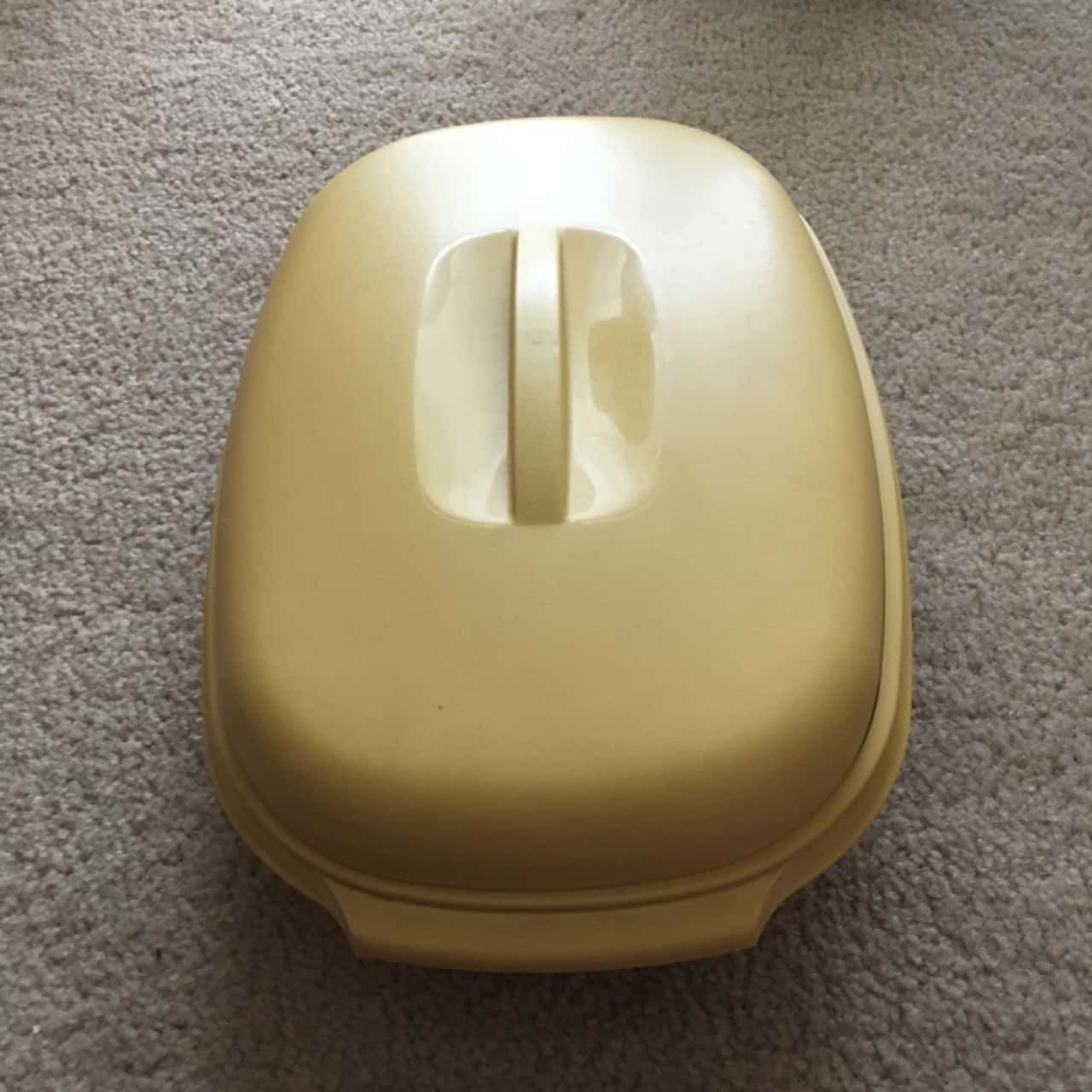 Vintage Tupperware Micro Steamer with White Strainer, Harvest Gold