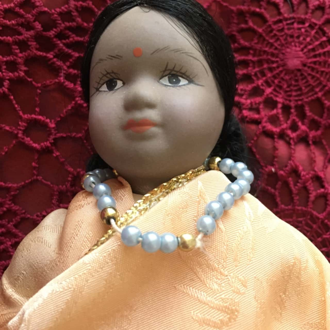 Porcelain Doll in Traditional Costume and Festive Dress from India