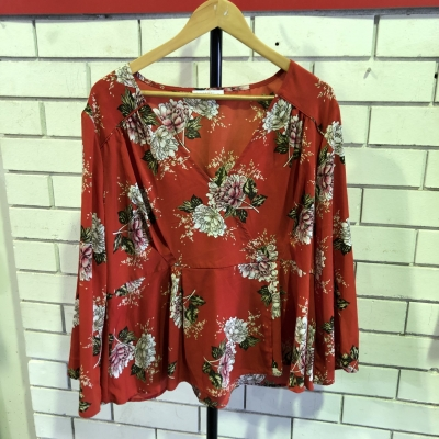 Living Doll Womens Size 16 Long Sleeve Floral/Orange