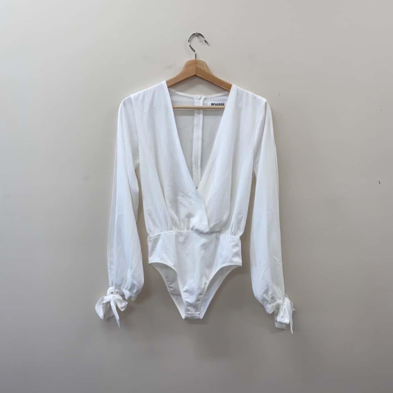 ** REDUCED ** Reverse Women's Size S White Long Sleeve Bodysuit