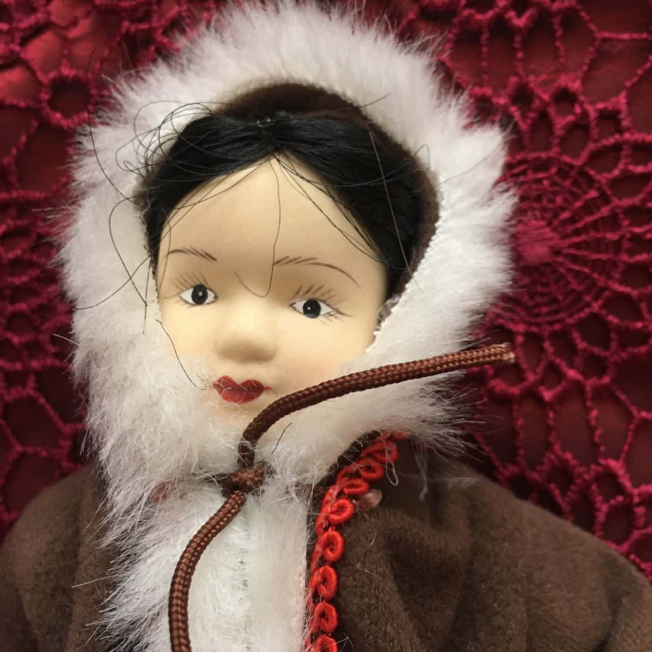 Porcelain Doll in Traditional Costume and Festive Dress from Alaska