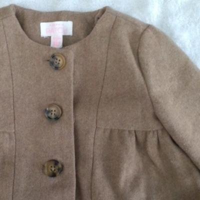 Gorgeous WOOL Blend Baby Girls Winter Jacket Size 6-12m  Light Brown