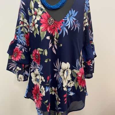 BNWT CROSSROADS Womens  Size 12 Floral Top Blue/Floral/Multicoloured RRP $59.99