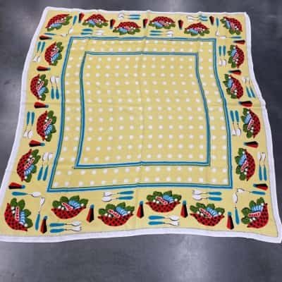 VINTAGE SQUARE TABLECLOTH 118 cm x 118 cm One Small hole