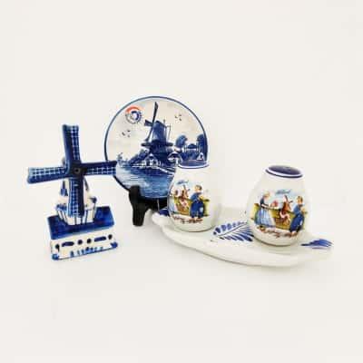 Dutch Pottery Set including Salt & Pepper Shakers Decorative Plate & Windmill