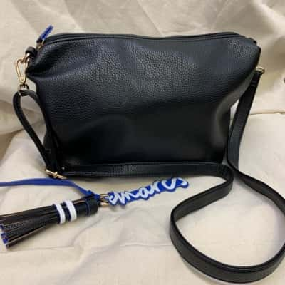 Women's Black With Blue Trim PU Leather Shoulder Handbag By Marcs