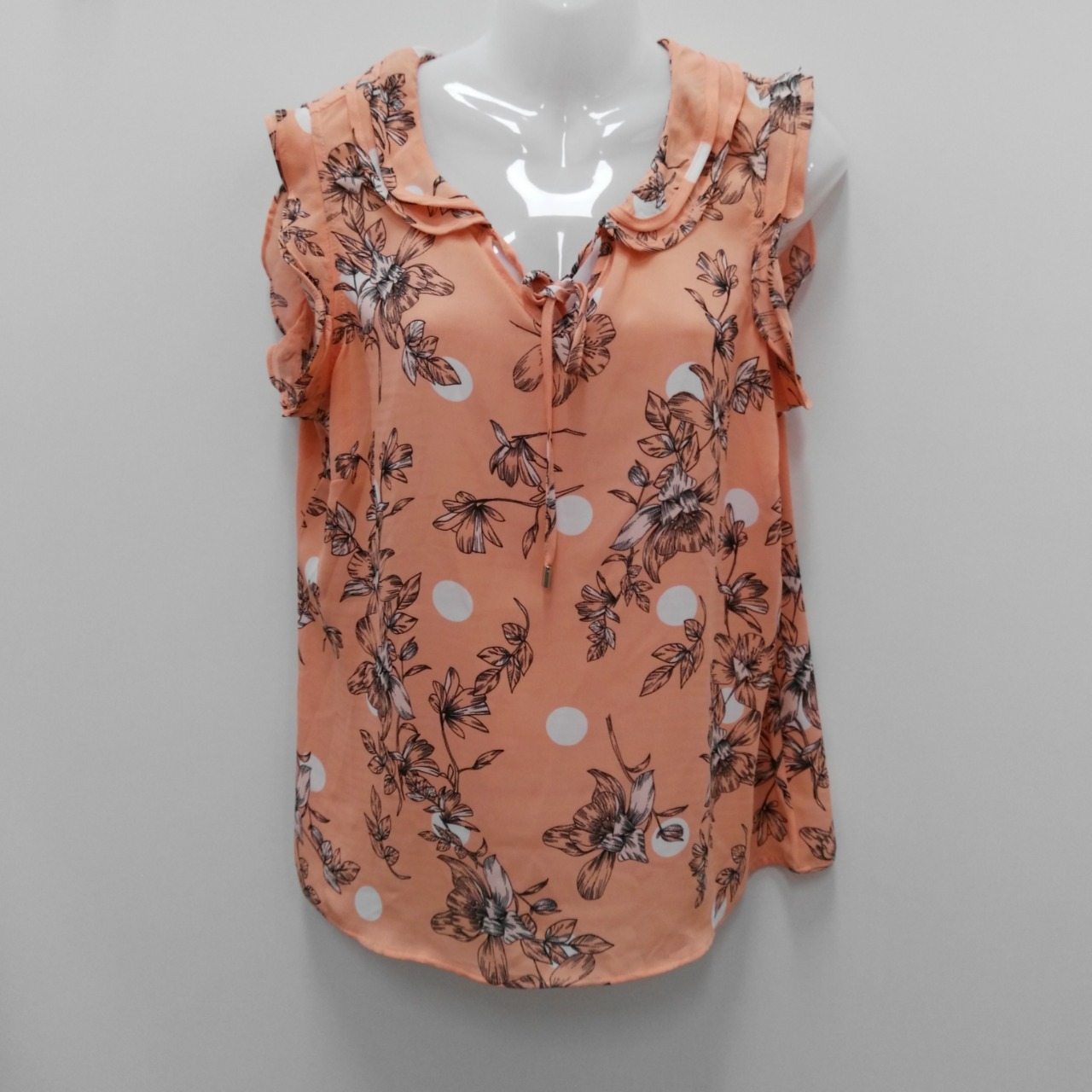 Women's TABLE EIGHT Floral Short Sleeve Top Apricot Floral Size 14