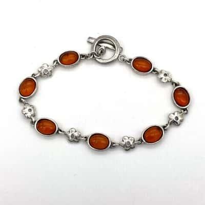Womens Amber & Silver Bracelet