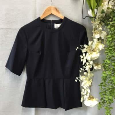 Reduced!! 3.1 Phillip Lim Womens Wool/Silk Top Size 4 Short Sleeve Navy Blue BNWT