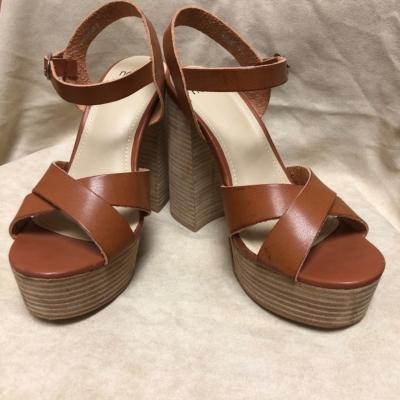 Novo Womens Block High Heel Sandals Size 9 Brown