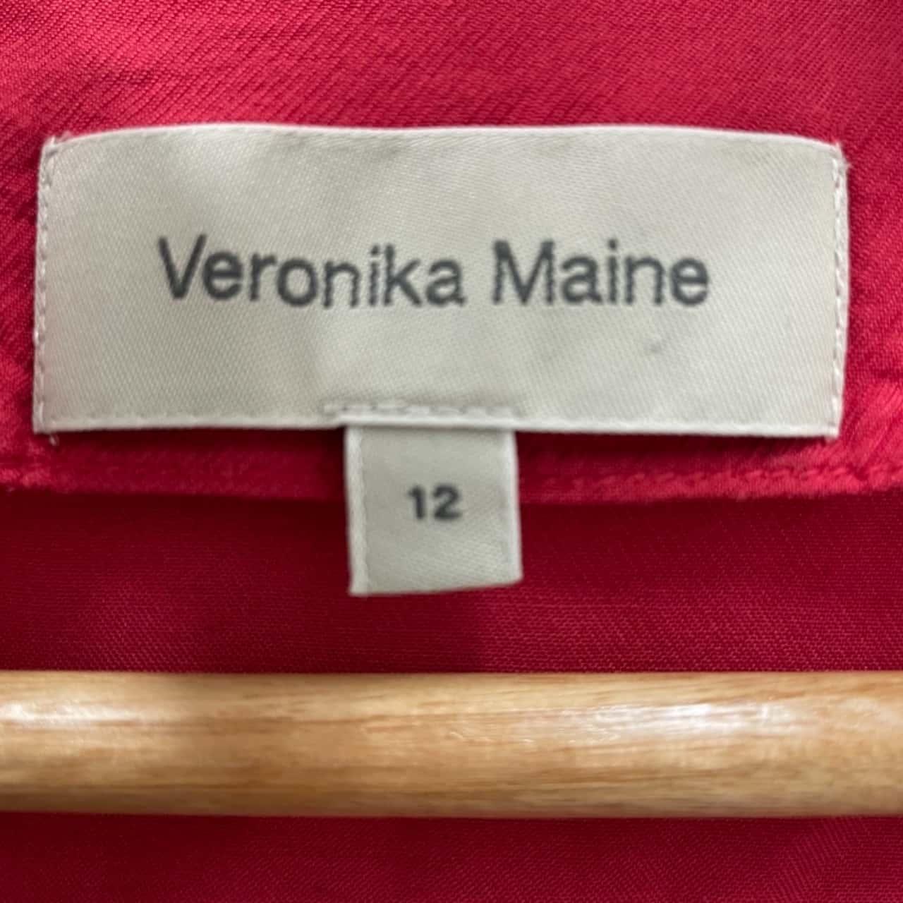 VERONIKA MAINE Womens Size 12 Short Sleeve Red