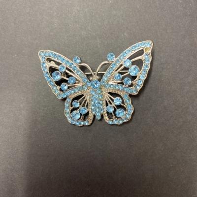 Womens Brooch Blue/Silver Butterfly