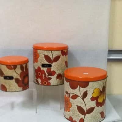 Willow brand alluminium canister set x 3 retro good retro condition orange brown