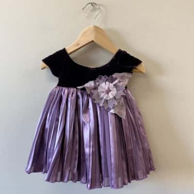 Amacello Girl's Dress Size 3-6m Purple - New With Tags