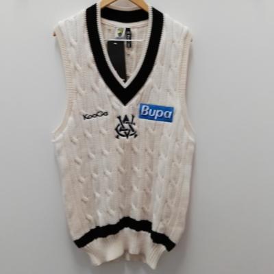 BNWT Authentic KOO GA Pure Wool Knitted Cricket Short Sleeve Jumper Mens Blue/Cream Sponsored