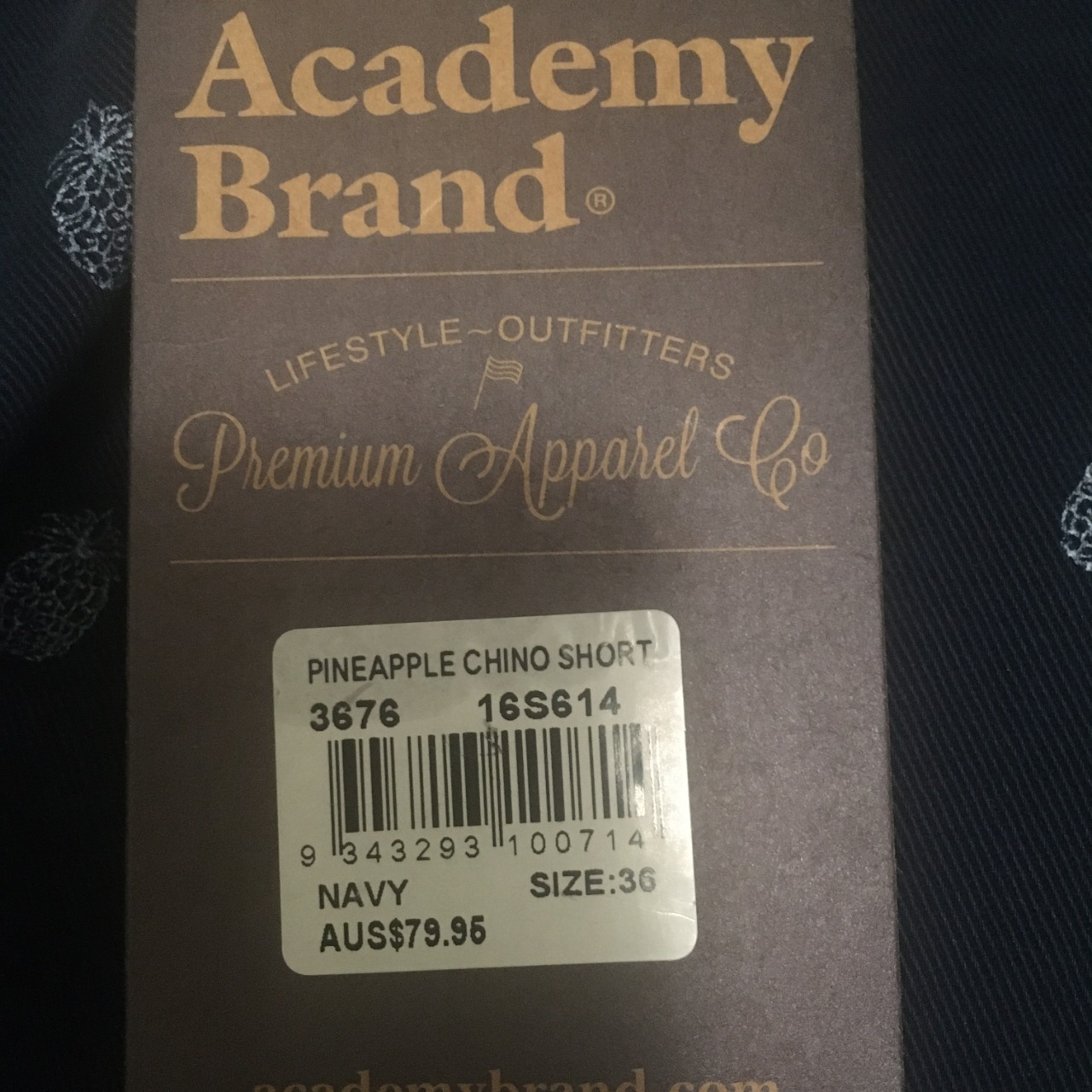 Academy Brand Mens  Size 36 Navy Blue Pineapple Chino Shorts Brand New